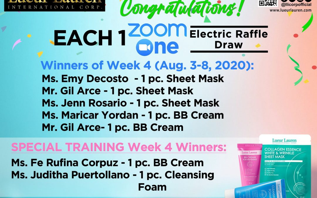 Congratulations to the winners of week 4 (August 3- August 8, 2020) of our Each One Zoom One Promo and Special Training Week 4 winners!