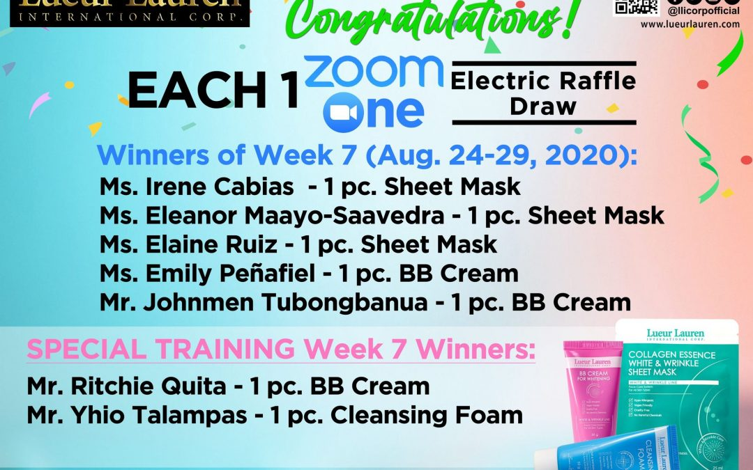 Congratulations to the winners of week 6 and 7 (August 17 to August 29 2020) of our Each One Zoom One Promo and Special Training
