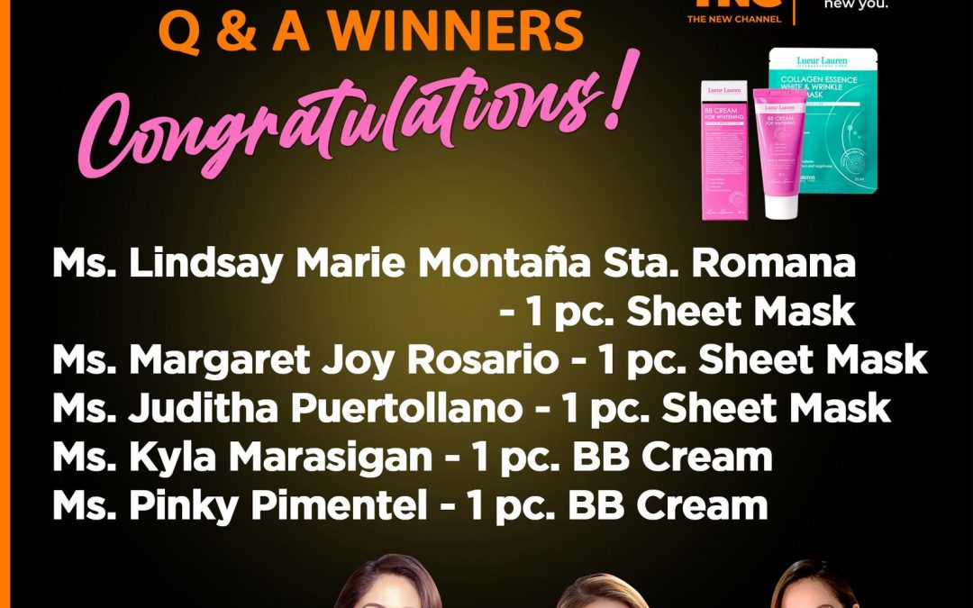 """Congratulations to all the winners of our White and Wrinkle Sheet mask and BB Cream during the Q & A segment in TNC's """"Usapang Beauty""""."""
