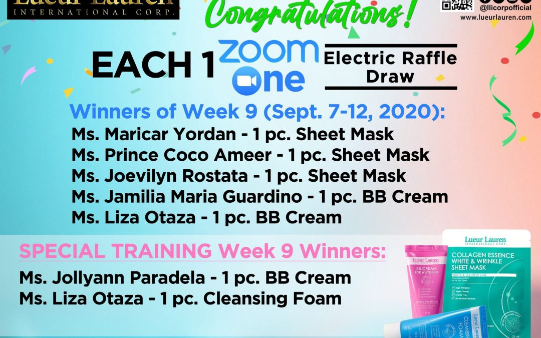 Congratulations to the winners of week 9 (September 7  to September 12, 2020) of our Each One Zoom One Promo and Special Training Week 9 winners!