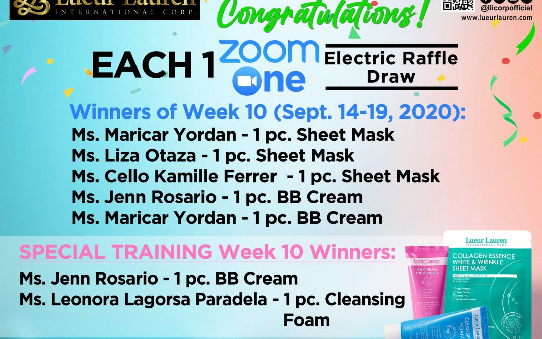 Congratulations to the winners of week 10 (Sept. 14-19, 2020) of our Each One Zoom One Promo and Special Training Week 10 winners!