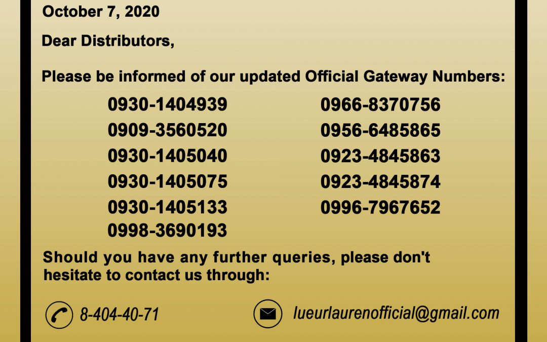 Updated official GATEWAY numbers effective immediately.