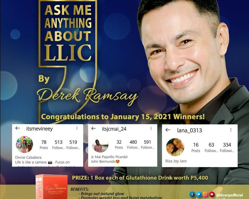 Here are the winners from our ASK ME ANYTHING ABOUT LLIC by Derek Ramsay. part 2 winners