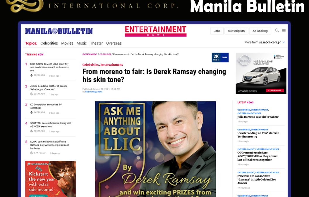 Latest issue of Manila Bulletin about LLIC along with our resident hunk, Mr. Derek Ramsay!