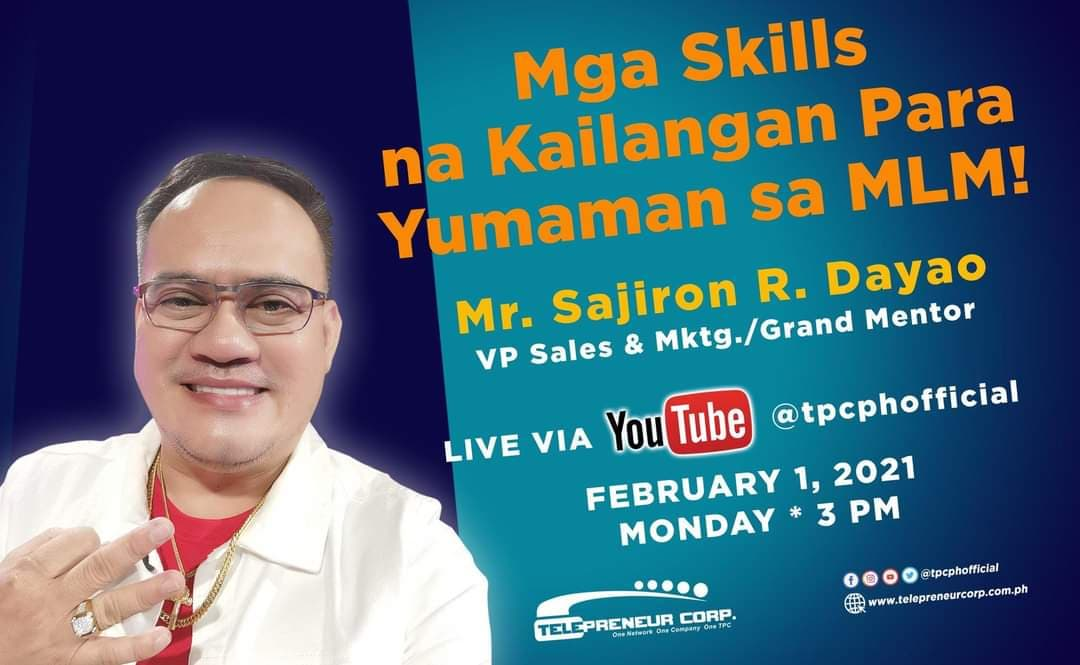 Let us all learn the secrets how to gain wealth and have fun in the world of MLM to be facilitated by our very own VP for Sales and Marketing,  Mr. Sajiron R. Dayao.