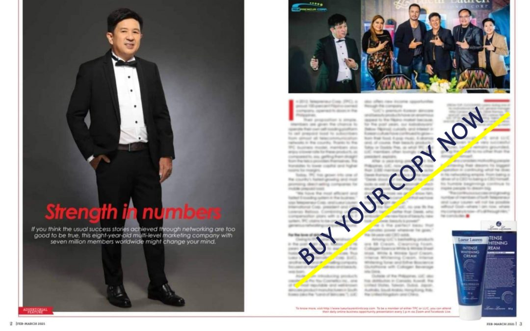 People Asia Magazine February – March 2021 issue featuring our Lueur Lauren Celebrity Ambassador, Mr. Derek Ramsay