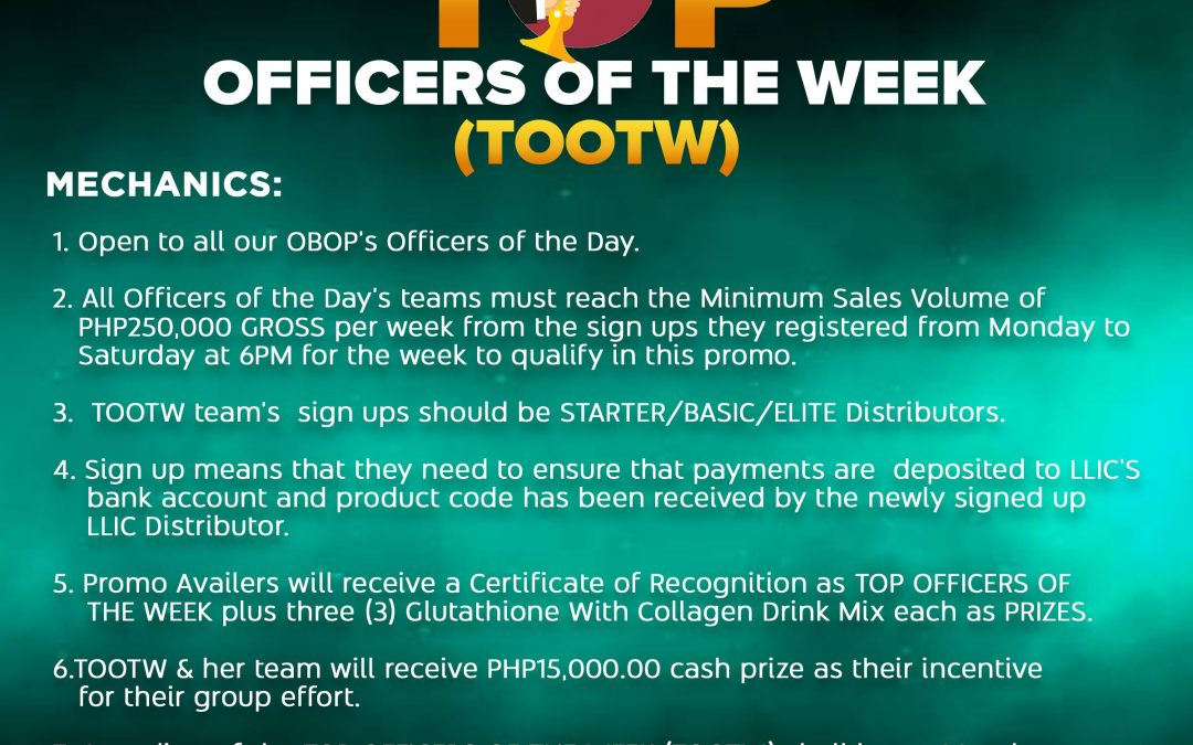 """Introducing our """"TOP OFFICERS OF THE WEEK"""" (TOOTW) PROMO!"""