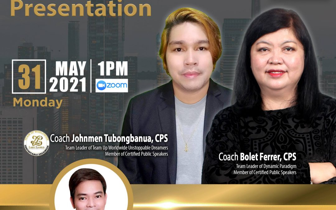 Lueur Lauren Business Opportunity Presentation on May 31, 2021, Monday, 1:00pm via Zoom and meet our Top Caliber Speakers, Ms. Bolet Ferrer and Mr. Johnmen Tubongbanua with Mr. Norbert Pablo.