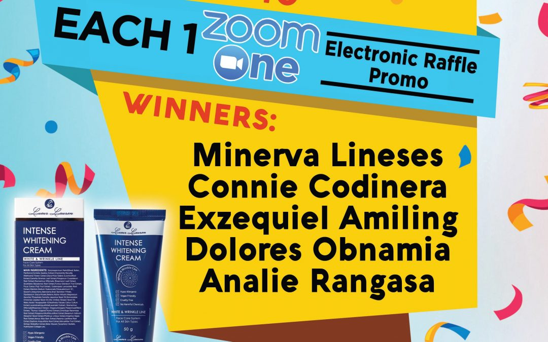 Congratulations to the winners of week 5 (May 15 to May 21, 2021) of our Each One Zoom One Promo winners!