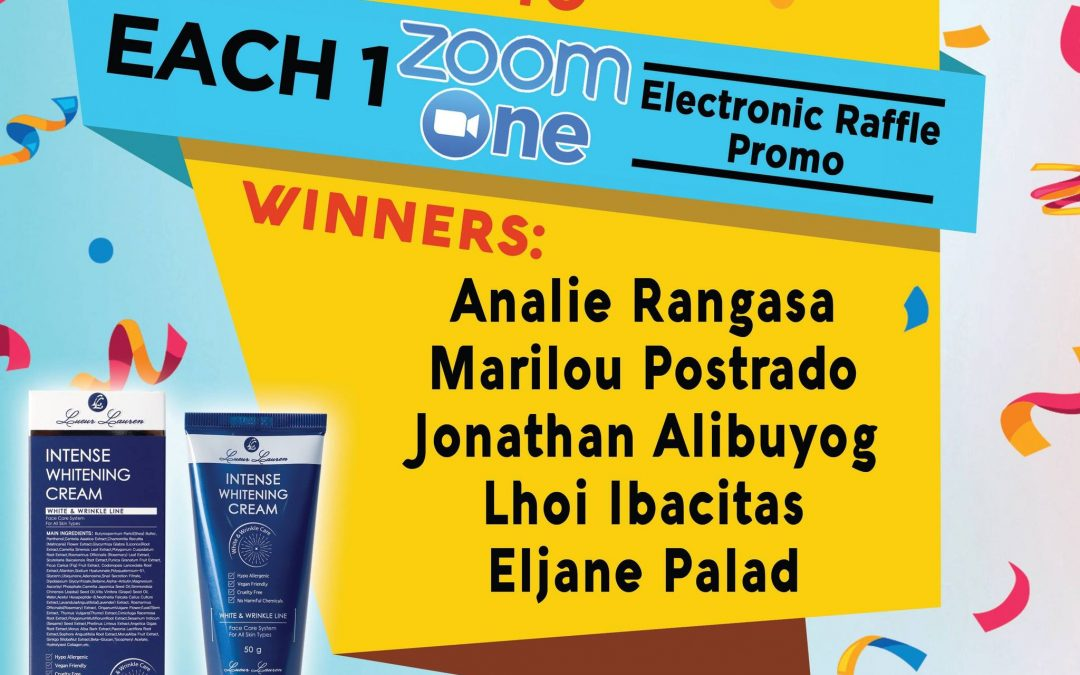 Congratulations to the winners of week 1 (July 19 to July 23, 2021) of our Each One Zoom One Promo winners!