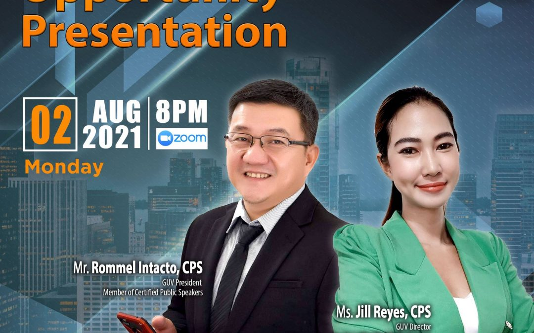 Lueur Lauren Business Opportunity Presentation on August 2, 2021, Monday, 8:00pm via Zoom and meet our Top Caliber Speakers, Mr. Rommel Intacto and Mr. Jill Reyes.