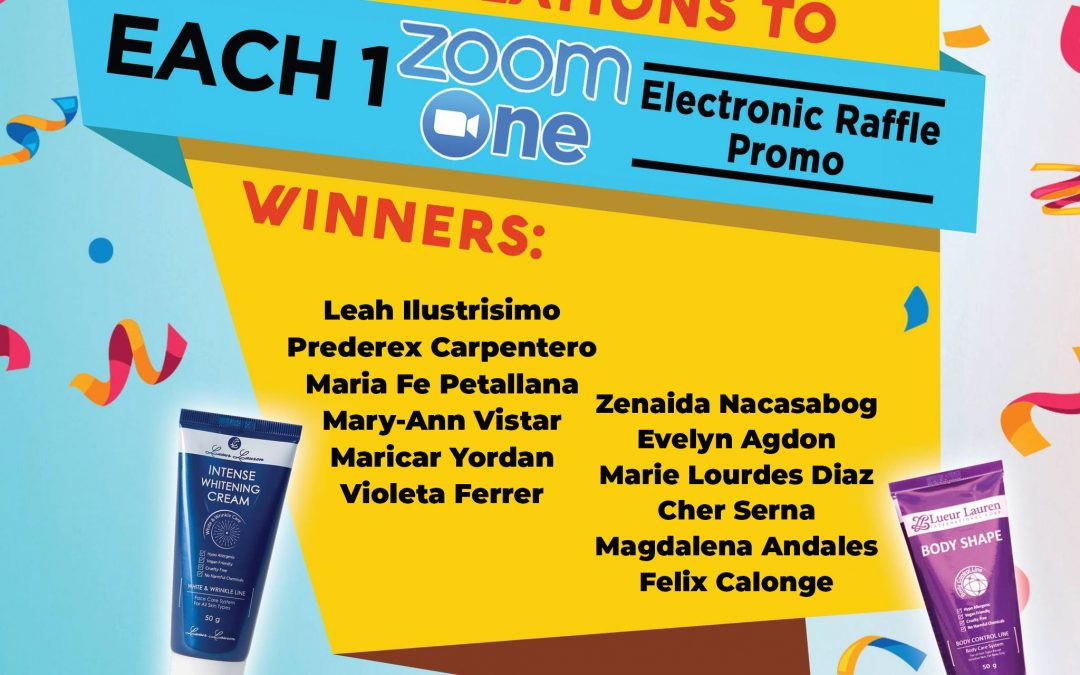 Congratulations to the winners of week 5 (August 21 to August 27, 2021) of our Each One Zoom One Promo winners!Intense Whitening Cream